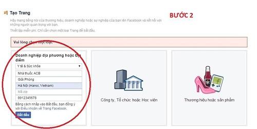 Hướng dẫn cách tạo Fanpage Nhà thuốc trên Facebook. 2
