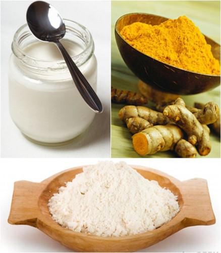 Nghệ, bột gạo và sữa chua có thể giúp bạn trị mụn và làm đẹp da sau sinh rất tốt